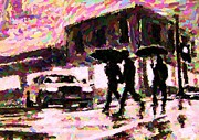 Pointillist Digital Art Metal Prints - Halifax Nova Scotia on in the Rain Metal Print by John Malone johnmaloneartistcom