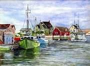 Fishing Drawings Originals - Halifax Nova Scotia Peggys Cove by Carol Wisniewski