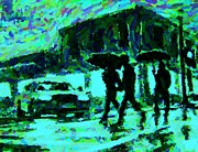 Umbrellas Digital Art - Halifax on a Rainy Night by Halifax Artist John Malone