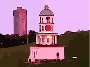 Halifax Art Galleries Prints - Halifax Town Clock Print by  Halifax Artist John Malone
