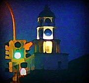 Halifax Artist John Malone Posters - Halifax Traffic Lights and Town Clock Poster by  Halifax Artist John Malone