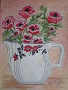 Pottery Pitcher Metal Prints - Hall China Red Poppy and Poppies Metal Print by Kathy Marrs Chandler
