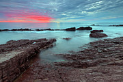 Sunset Seascape Framed Prints - Hallett Cove Sunset Framed Print by Bill  Robinson