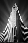 Black And White Photography Acrylic Prints - Hallgrimskirkja I Acrylic Print by David Bowman