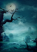 Mythja Posters - Halloween background - Spooky graveyard Poster by Mythja  Photography
