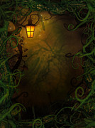 Haunted House Prints - Halloween background with spooky vines Print by Mythja  Photography