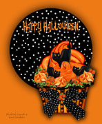 Halloween Card Mixed Media Posters - Halloween Black Cat Cupcake 2 Poster by Carol Cavalaris
