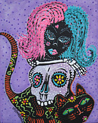 Halloween Folk Art Posters - Halloween Candy Poster by Laura Barbosa