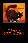 Greeting_card Framed Prints - Halloween Cat Framed Print by Randi Grace Nilsberg