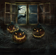 Halloween Digital Art - Halloween Design - Abandoned pumpkins by Mythja  Photography