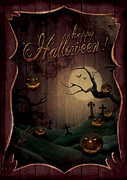 Creepy Digital Art Metal Prints - Halloween design - Pumpkins Theatre Metal Print by Mythja  Photography