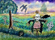 Gothic Crows Drawings Prints - Halloween Field with Funny Scarecrow Skeleton Hand and Crows Print by Ion vincent DAnu
