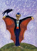 Dracula Drawings - Halloween Funny Batcula with Crow by Ion vincent DAnu