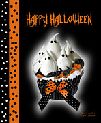 Halloween Card Mixed Media Posters - Halloween Ghost Cupcake 3 Poster by Carol Cavalaris