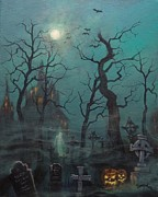 Cemetery Painting Posters - Halloween Ghost Poster by Tom Shropshire
