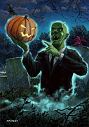 Ghost Illustration Prints - Halloween Ghoul rising from Grave with pumpkin Print by Martin Davey