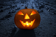 Moon Smiling Posters - Halloween glowing pumpkin at night Poster by Michal Bednarek
