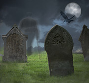 Cemetery Posters - Halloween Graveyard Poster by Christopher and Amanda Elwell
