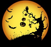 Owl Digital Art Metal Prints - Halloween Haunted Tree Metal Print by Sanely Great