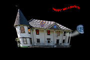 Halloween Haunted Victorian Mansion Print by Stevan Sims