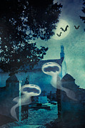 Horror Digital Art - Halloween illustration with evil spirits by Nikolina Petolas