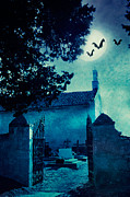 Haunted House Posters - Halloween illustration with graveyard Poster by Mythja  Photography