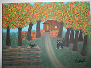 Pumpkins Paintings - Halloween in a Farm by Catherine Velardo