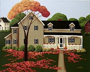 Autumn Folk Art Paintings - Halloween in Fallbrook by Catherine Holman