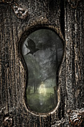 Graveyard Road Posters - Halloween Keyhole Poster by Christopher and Amanda Elwell