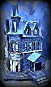 Haunted Digital Art - Halloween Mansion by John Malone