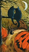 Pumpkins Paintings - Halloween Night Cats by Sylvia Pimental