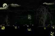 Flying Spider Posters - Halloween night with Halloween Characters Poster by Saurabh and Geetanjali Nande
