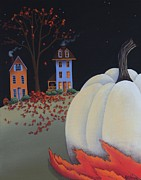 Halloween Folk Art Posters - Halloween on Pumpkin Hill Poster by Catherine Holman