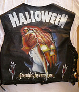Metallica Mixed Media - Halloween painted leather vest by danielle vergne by Danielle Vergne