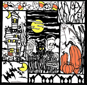 Haunted House  Tapestries - Textiles - Halloween Papercut1 by Eric Fronapfel