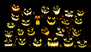All Hallows Eve Posters - Halloween pumpkin faces Poster by Tim Gainey