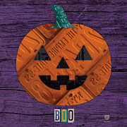 Tag Art Prints - Halloween Pumpkin Holiday Boo License Plate Art Print by Design Turnpike