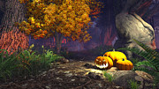 Scary Digital Art Originals - Halloween pumpkins by Marina Likholat