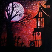 Haunted House Print Prints - Halloween Retreat Print by Denisse Del Mar Guevara