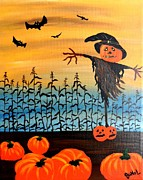 Corn Paintings - Halloween Scarecrow by JoNeL  Art