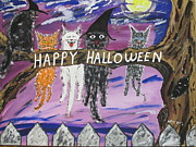 Scared Posters - Halloween Scaredy Cats Poster by Jeffrey Koss
