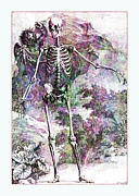 Sarah Vernon Prints - Halloween Skeleton and Cherub Print by Sarah Vernon