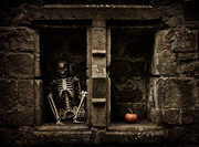 Head Stone Framed Prints - Halloween Skeleton Framed Print by Christopher and Amanda Elwell