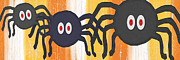 Spiderweb Posters - Halloween Spiders Sign Poster by Linda Woods