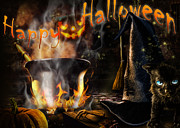 Pumpkins Digital Art - Halloween spirit Greeting card by Alessandro Della Pietra