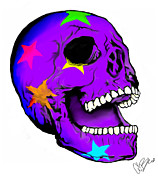 Starry Digital Art Framed Prints - Halloween Stary Skull Framed Print by Amanda Bright
