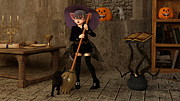 Halloween - The Life Of A Witch Print by Liam Liberty