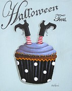 Folk Art Paintings - Halloween Treat Witch Cupcake by Catherine Holman