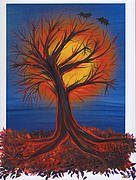 First Star Art Paintings - Halloween Tree by jrr by First Star Art