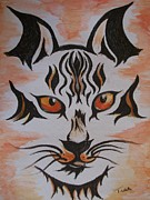 Last Supper Mixed Media Posters - Halloween Wild Cat Poster by Teresa White